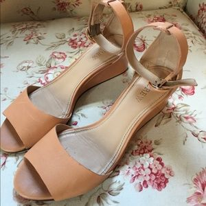 J.Crew tan ankle strap wedges 6.5